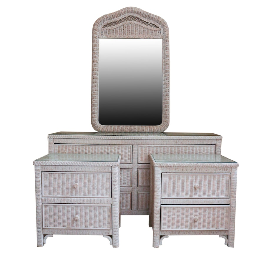 Lexington Furniture White Wicker Dresser, Mirror, and Nightstands