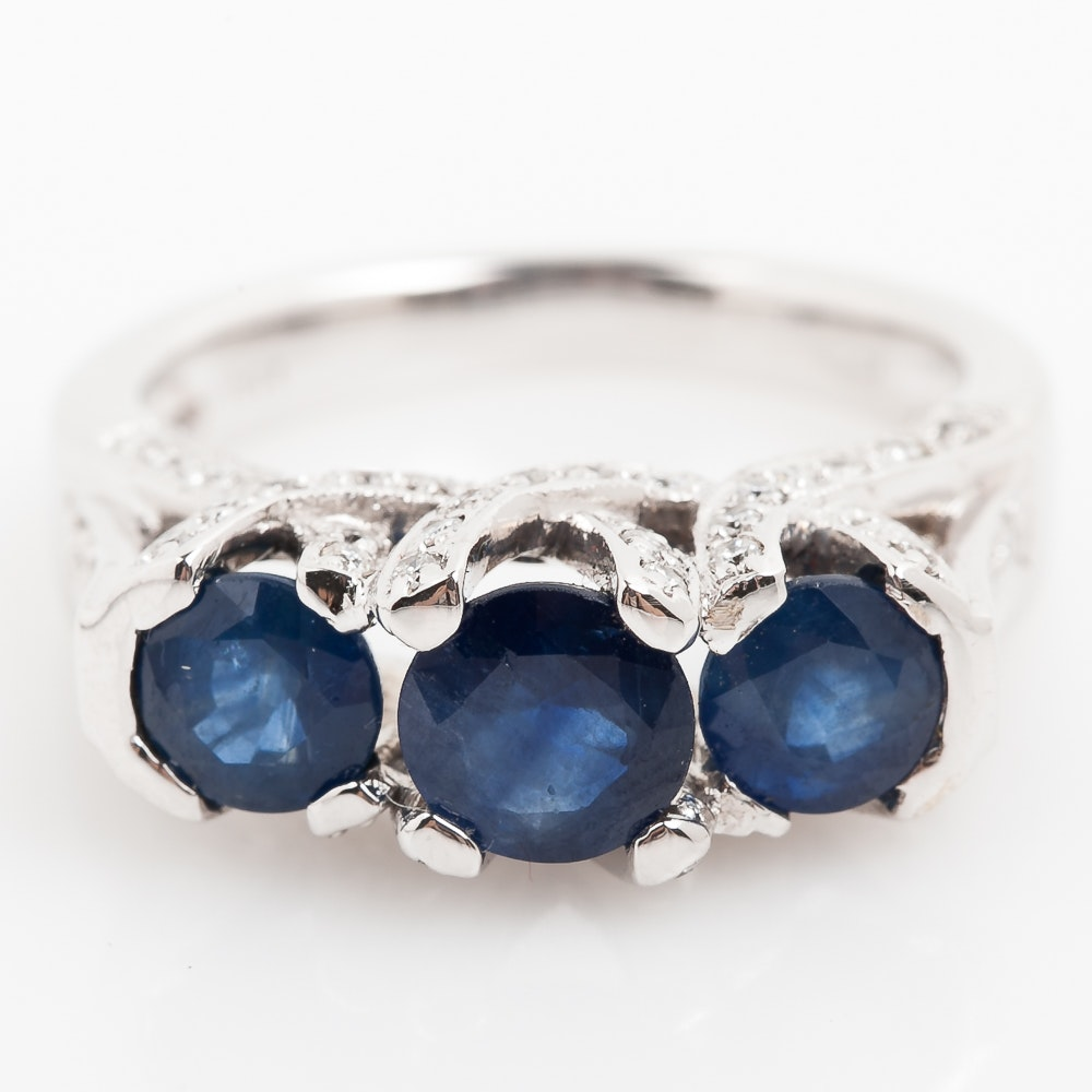 18K White Gold, 2.28 CTW Sapphire, and Diamond Engagement Ring