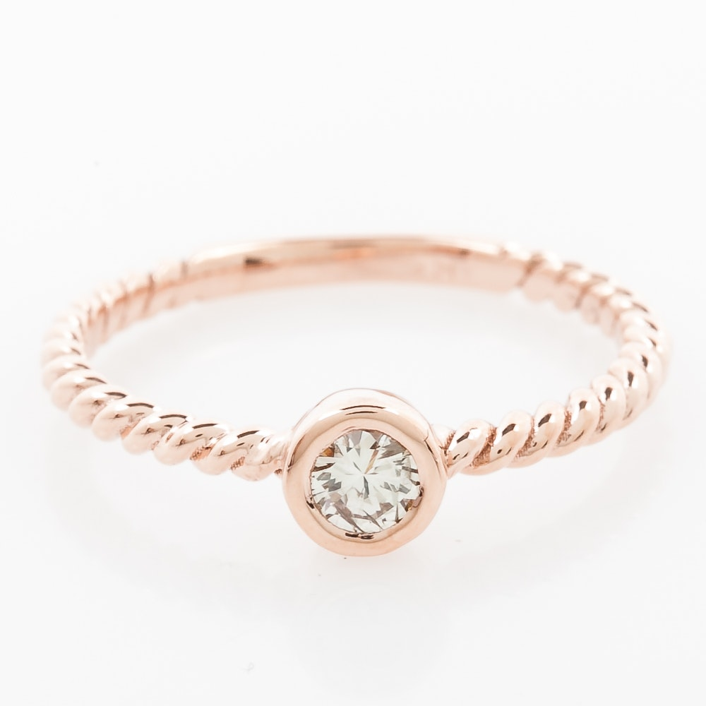 14K Rose Gold and Bezel Set Diamond Solitaire Ring