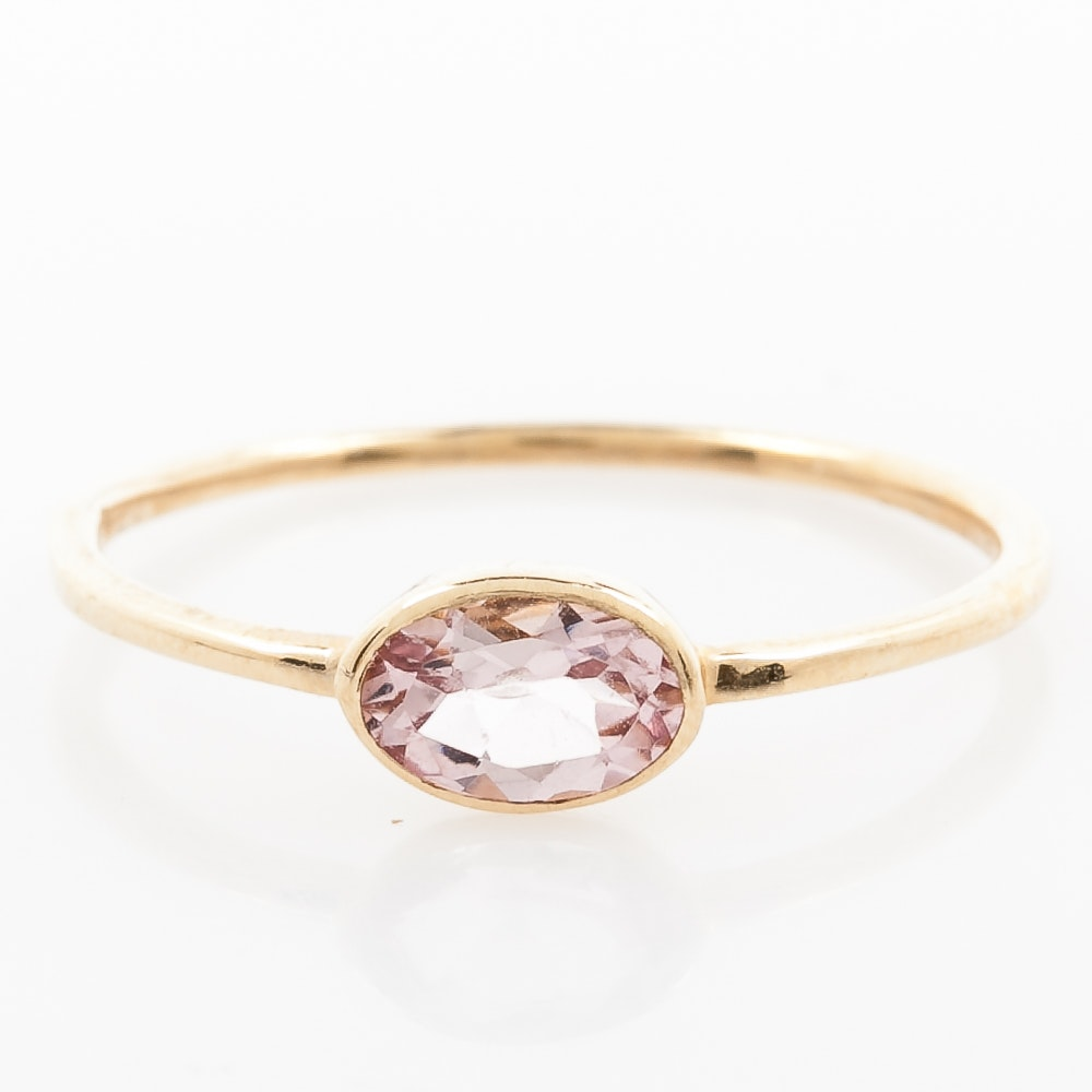 14K Yellow Gold and Pink Tourmaline Solitaire Ring