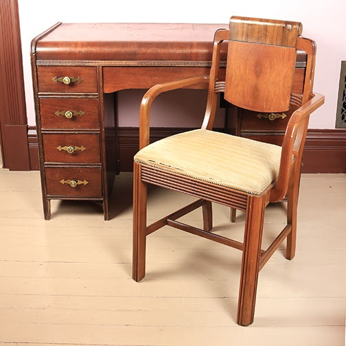 Art Deco Waterfall Desk And Chair