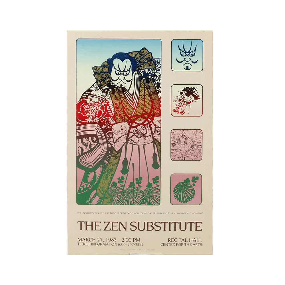 "Serigraph Poster for the Kabuki Play ""The Zen Substitute"""