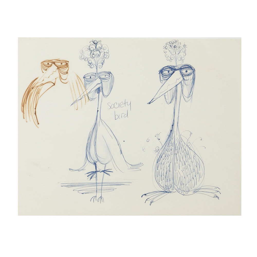 "Bob Guccione Ink Drawing on Paper ""Society Bird"""