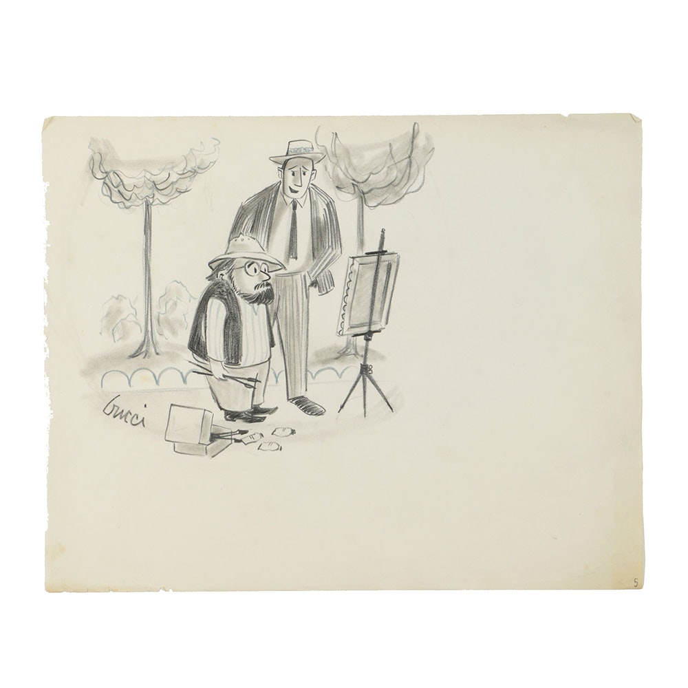 Bob Guccione Graphite Cartoon Drawing on Paper of Artist Painting