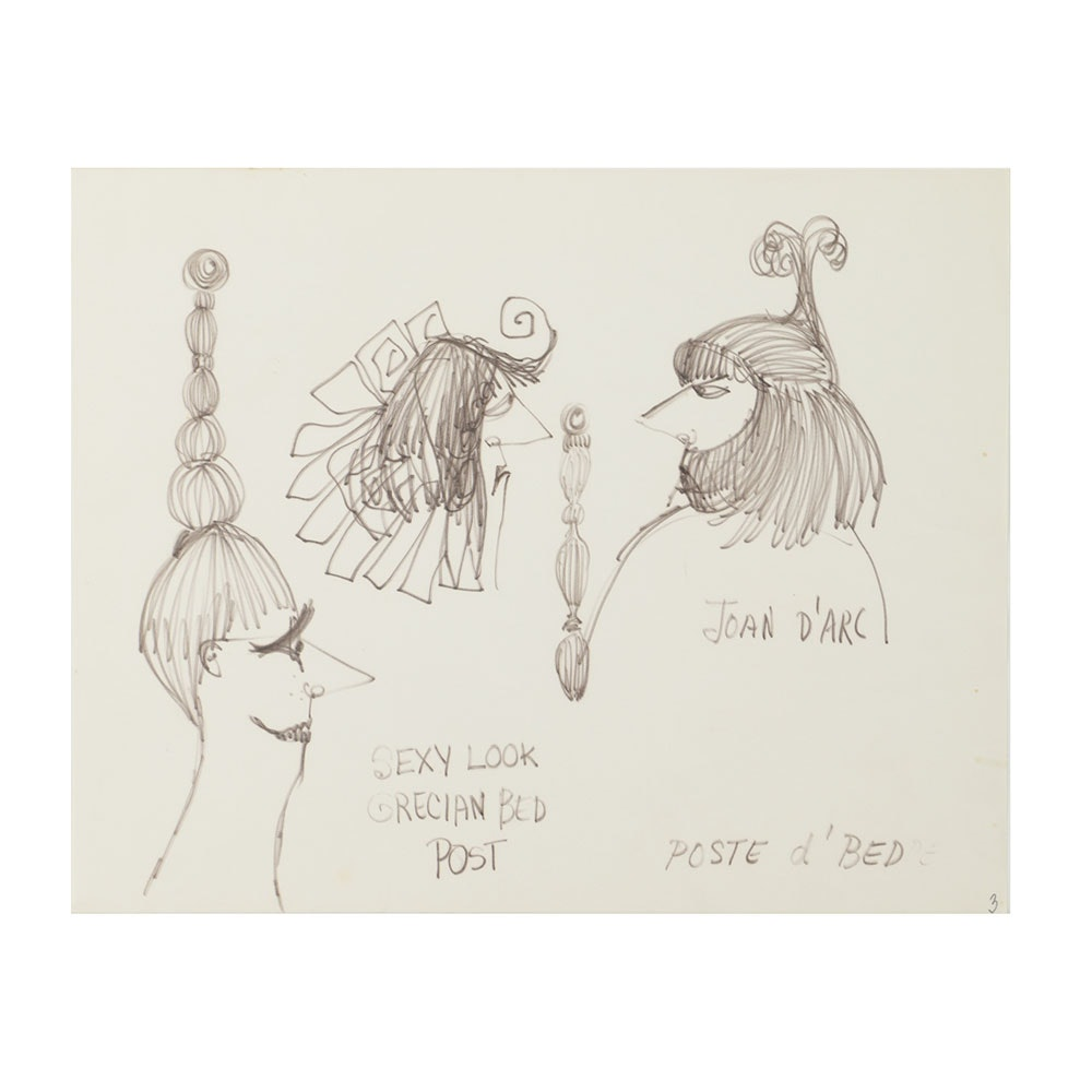 Bob Guccione Ink Drawing on Paper Cartoons of Hairstyles