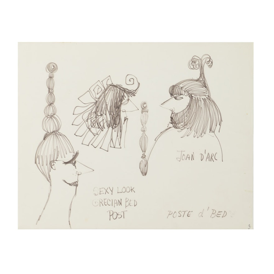 Bob Guccione Ink Drawing On Paper Cartoons Of Hairstyles Ebth