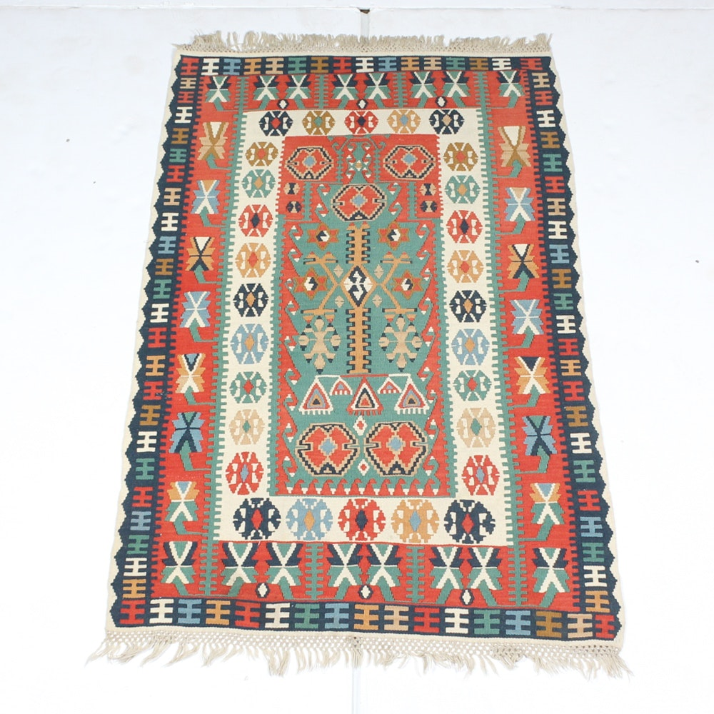 Hand-Knotted Turkish Caucasian Kilim