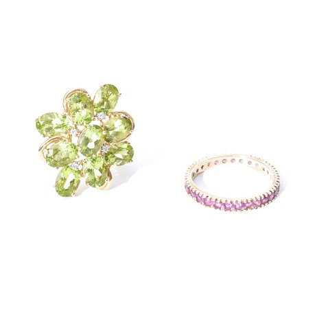 14K Peridot Diamond Ring and 14K Pink Sapphire Gold Rings