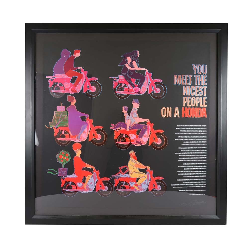 """Rupert Jasen Smith """"You Meet the Nicest People on a Honda"""" Signed Limited Edition Screenprint with Diamond Dust"""