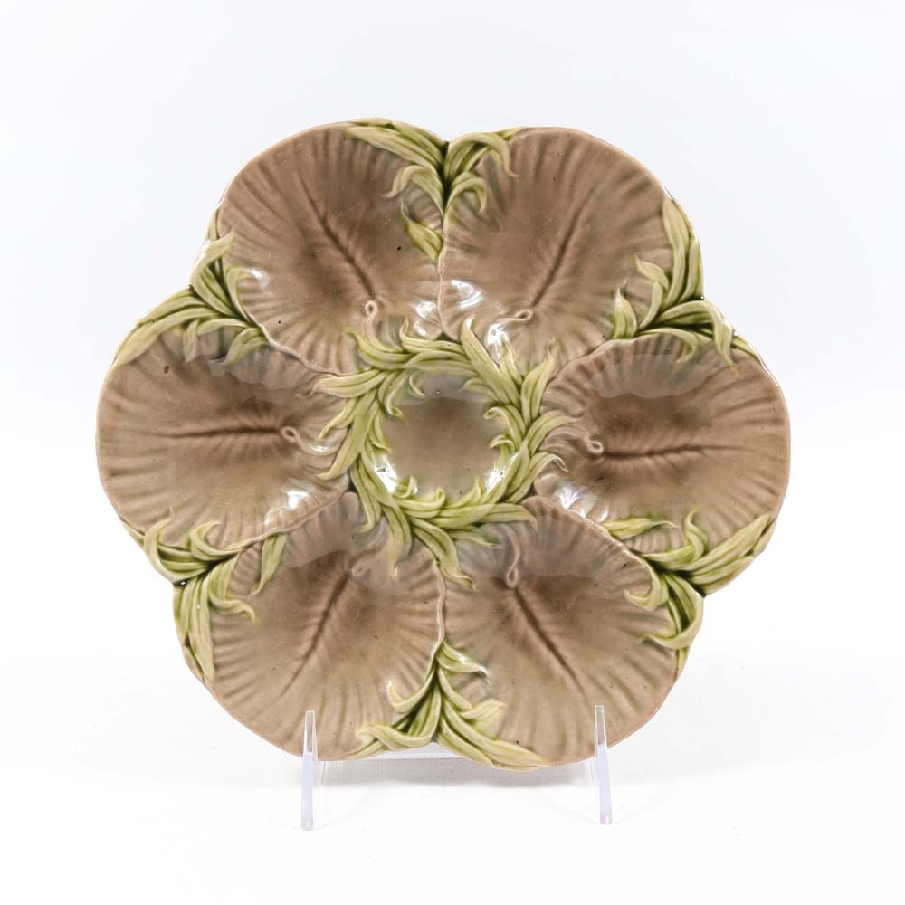 Antique Luneville Majolica Oyster Plate