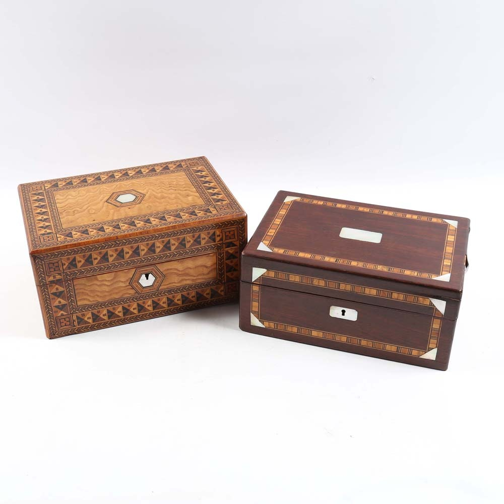 Wooden Boxes Featuring Exotic Wood and Mother-of-Pearl Inlay