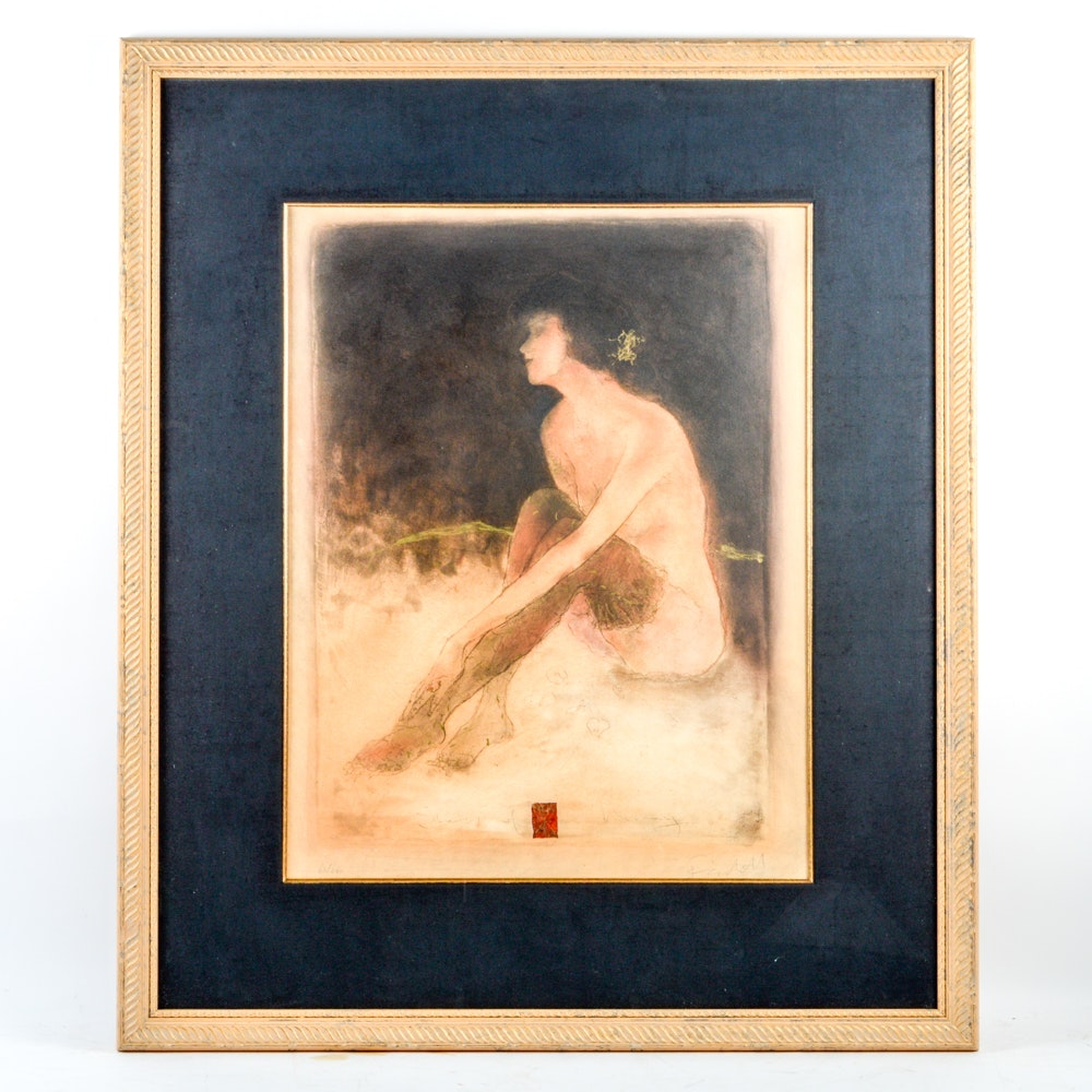 "Roy Fairchild-Woodard Limited Edition Etching ""Sitting Nude"""