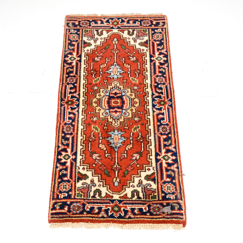 Hand-Knotted Indo-Persian Heriz Serapi Accent Rug