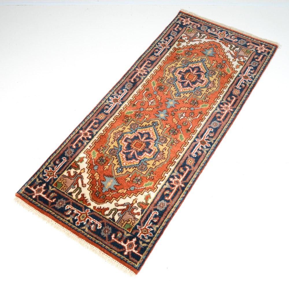 Hand-Knotted Indo-Persian Heriz Serapi Runner
