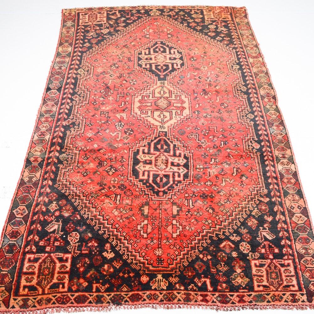 Semi-Antique Hand-Knotted Persian Shiraz Area Rug