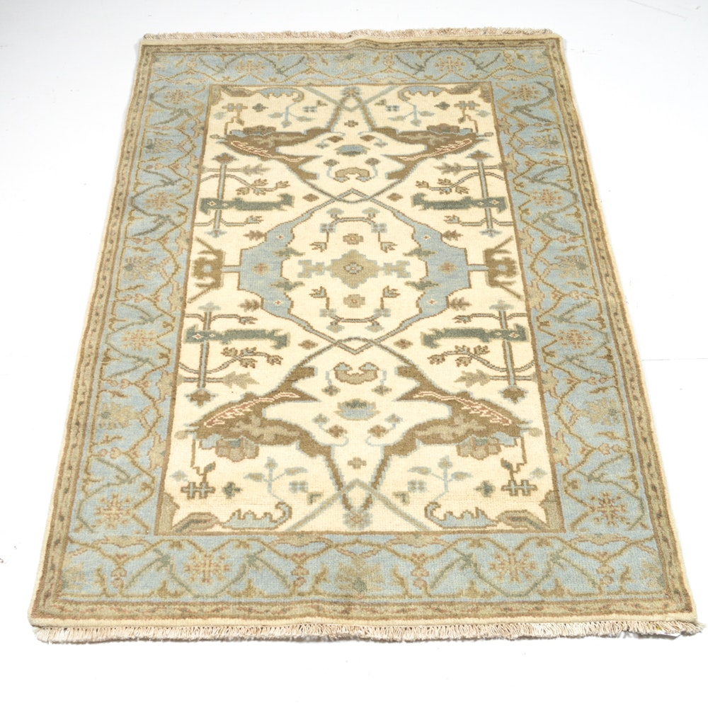 Hand-Knotted Indo-Turkish Oushak Accent Rug