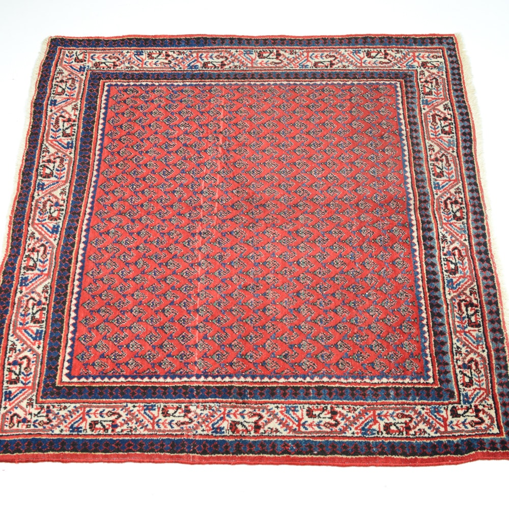 Hand-Knotted Persian Mir Sarouk Square Rug