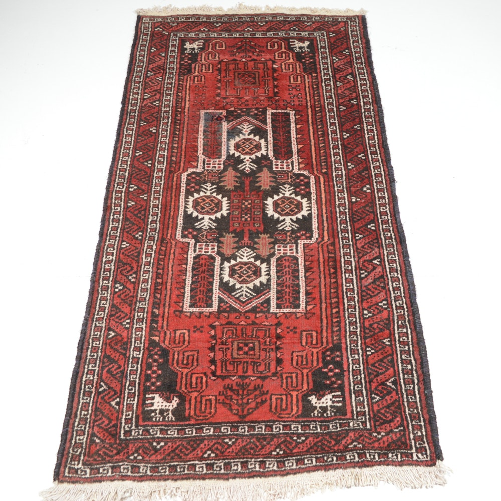Hand-Knotted Persian Baluch Pictorial Area Rug