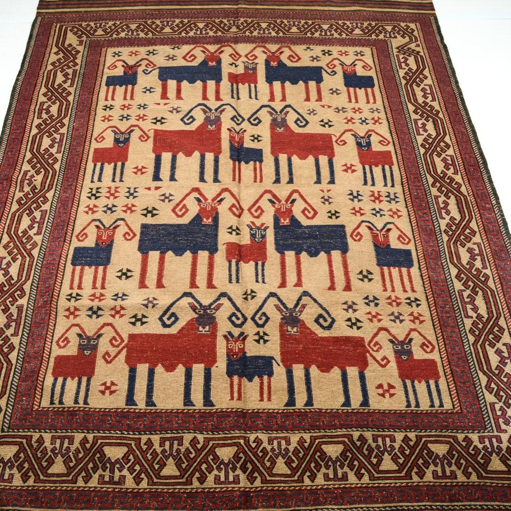 Semi-Antique Handwoven Afghani Pictorial Kilim