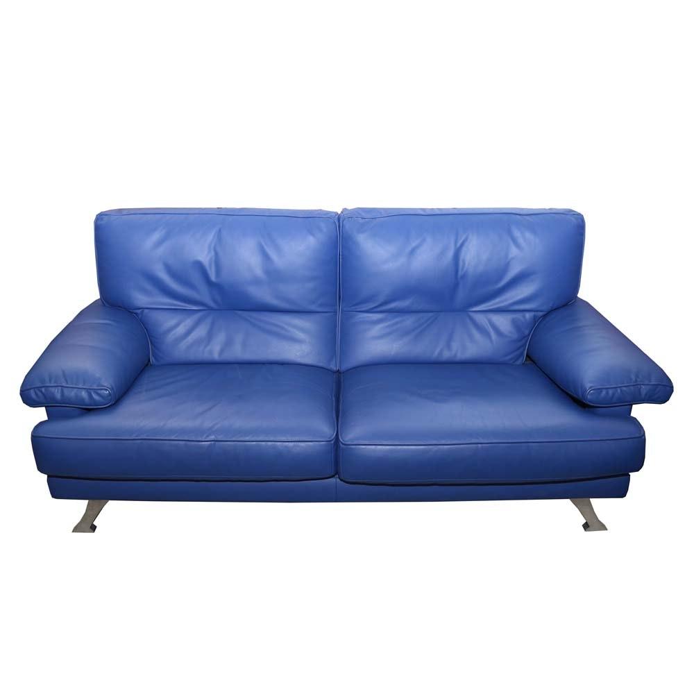 Mid-Century Modern Ligne Roset Leather and Chrome Sofa