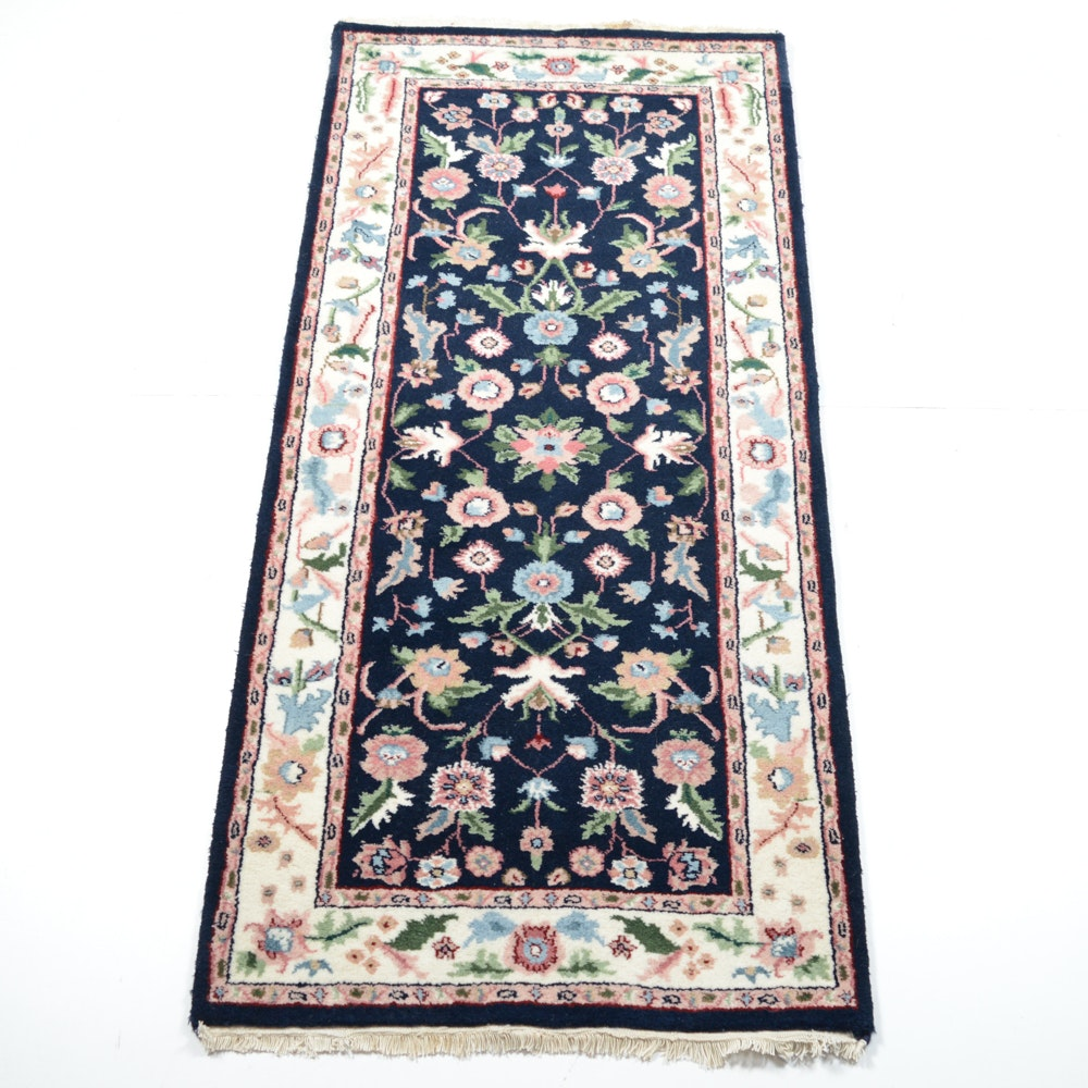 Hand-Knotted Indo-Persian Kashan Runner