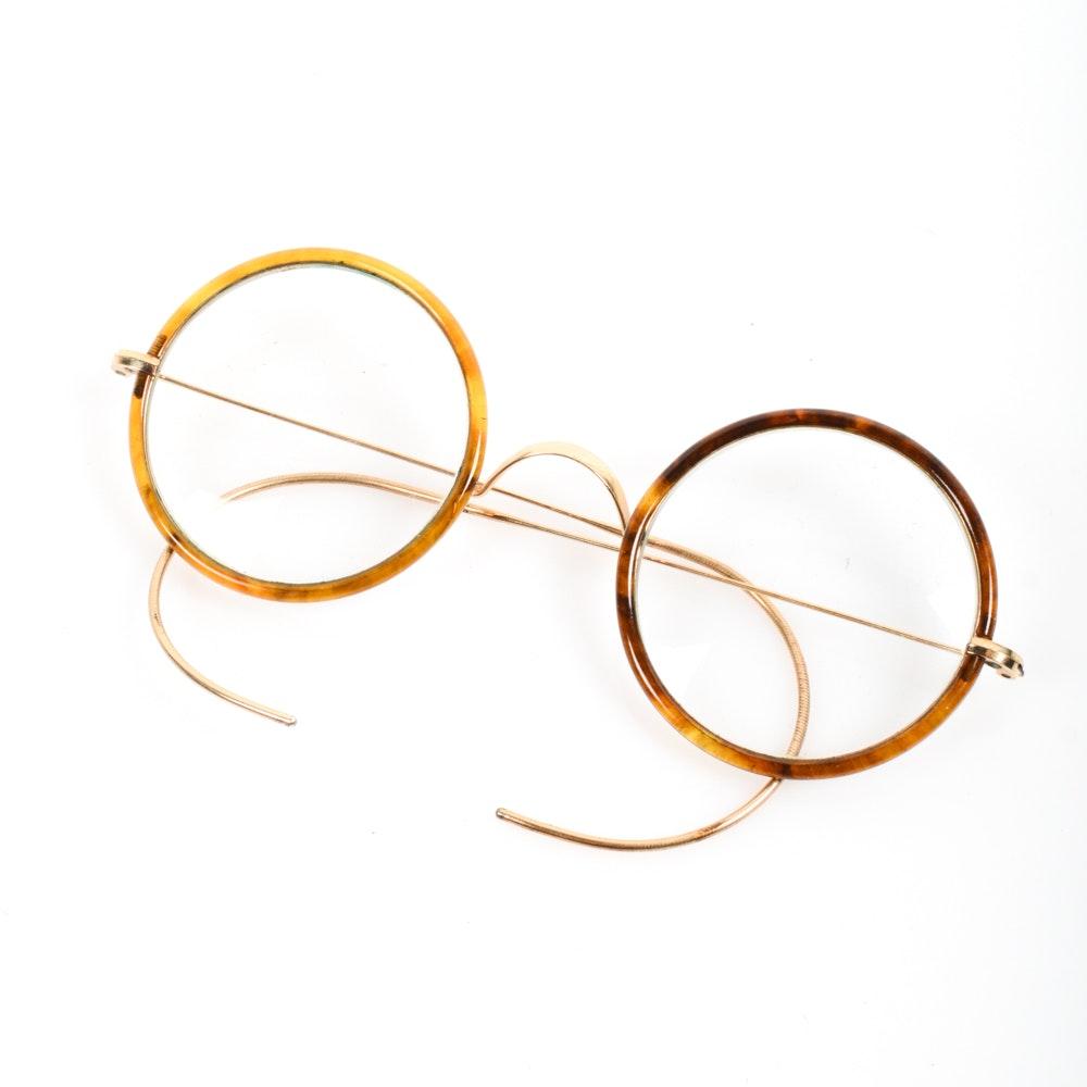 Vintage Gold Tone Tortoise Shell Rimmed Eyeglasses