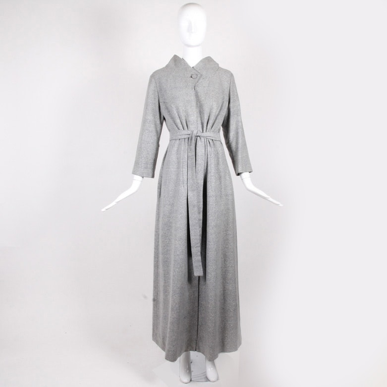 Vintage Hattie Carnegie Belted Wool Evening Coat