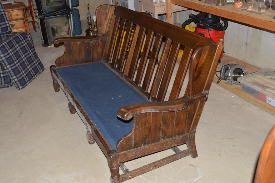 Vintage Quot Old Tavern Quot Wood Sofa Chair And Table By Ethan
