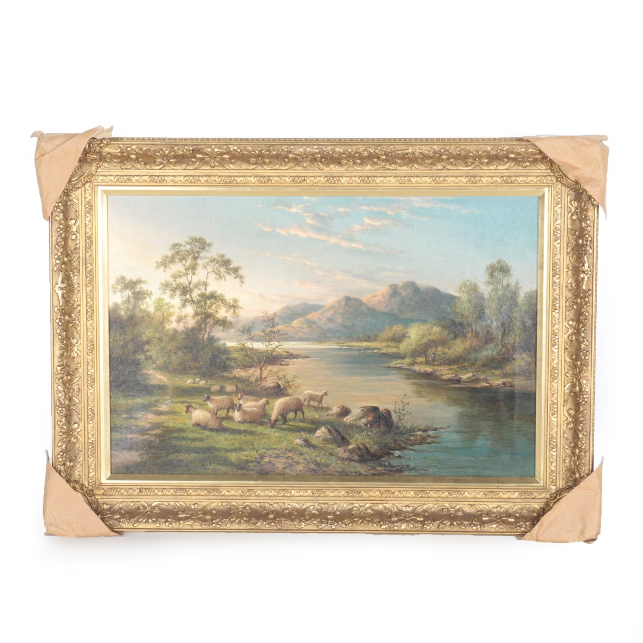 """H. James Oil on Canvas """"Sheep Grazing at the Edge of a River"""""""