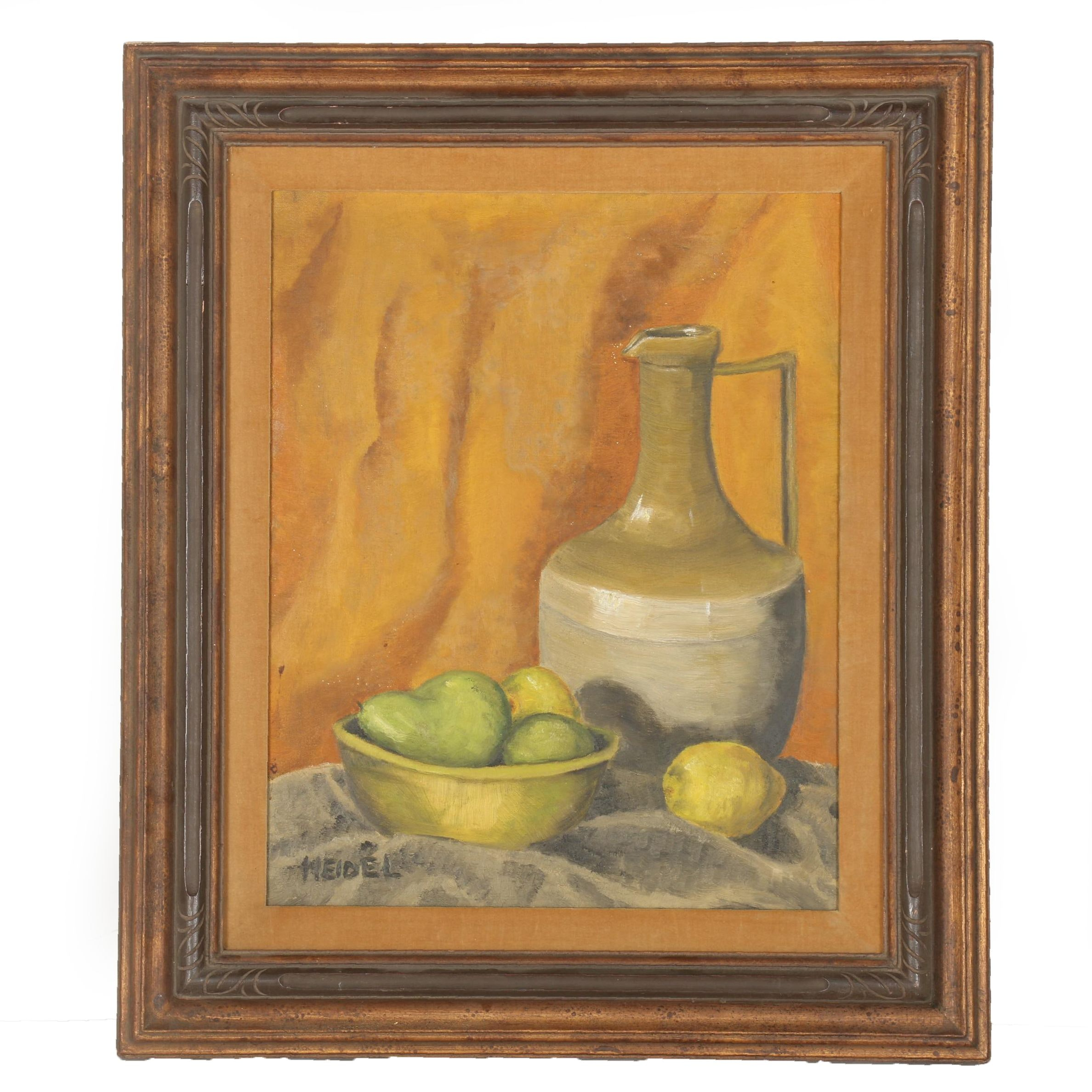 Heidel Oil Painting on Canvas Board of Still Life