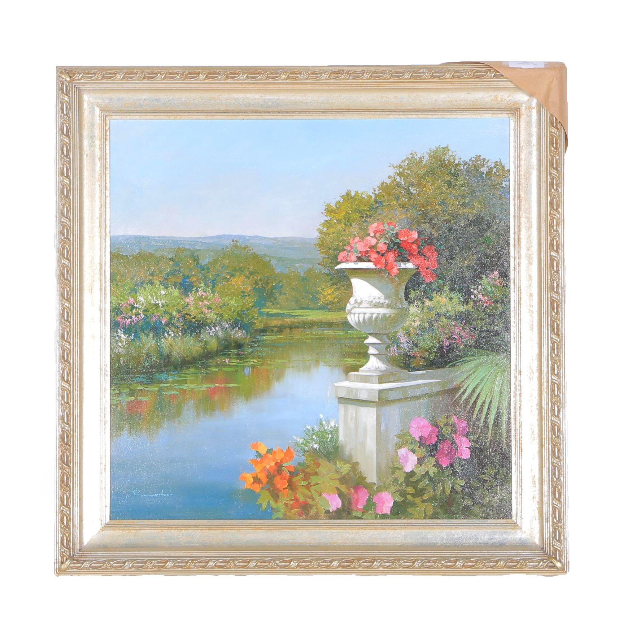 "Spartaco Lombardo Oil on Canvas ""Park Scene with Lake"""