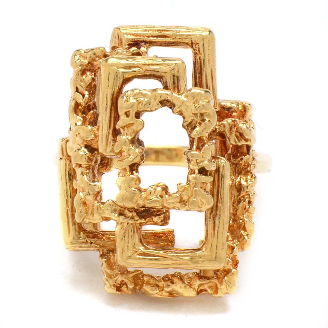 Vintage 18K Yellow Gold Brutalist Openwork Ring