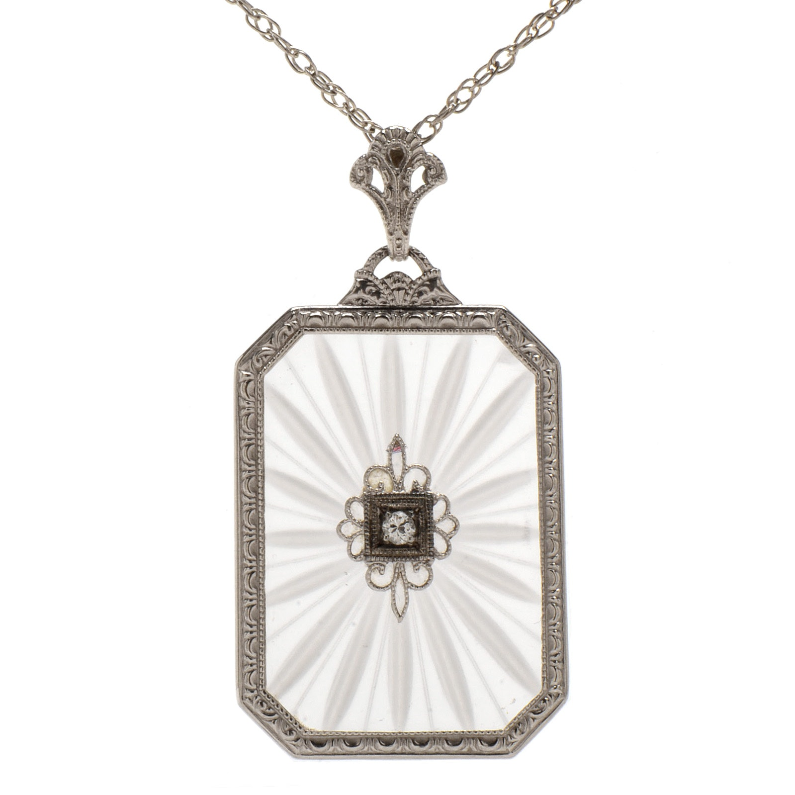 Art Deco 14K White Gold Carved Rock Crystal and Diamond Necklace