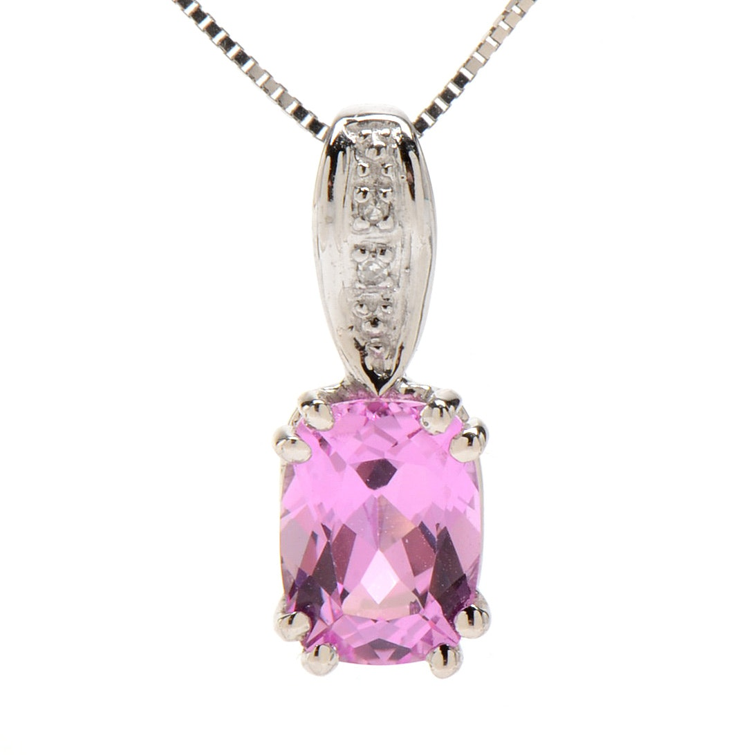 14K White Gold, Synthetic Pink Sapphire and Diamond Necklace