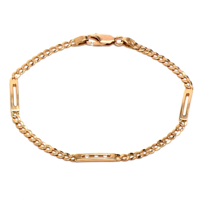 Italian 14K Yellow Gold Diamond Link Bracelet