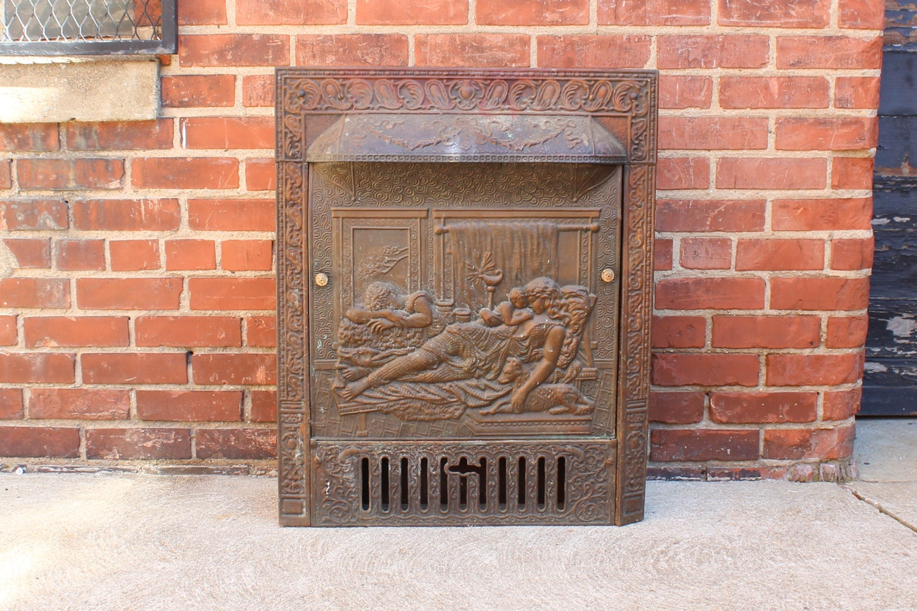 Early 1900s Fireplace Insert With Embossed Summer Cover Ebth