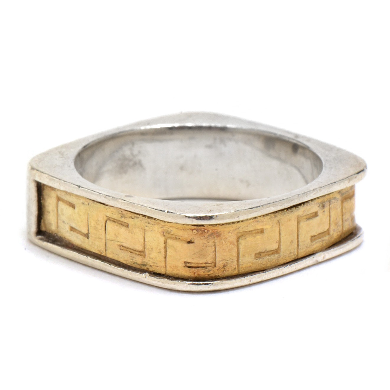 Sterling Silver and 18K Yellow Gold Band