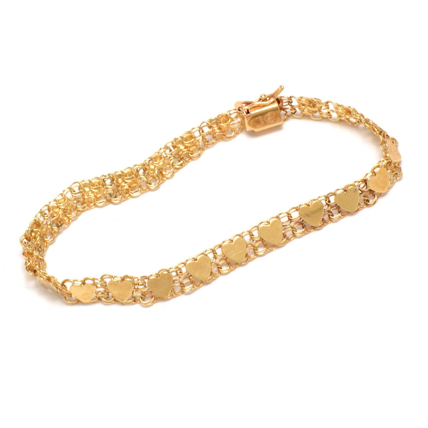14K Yellow Gold Heart Shape Link Bracelet
