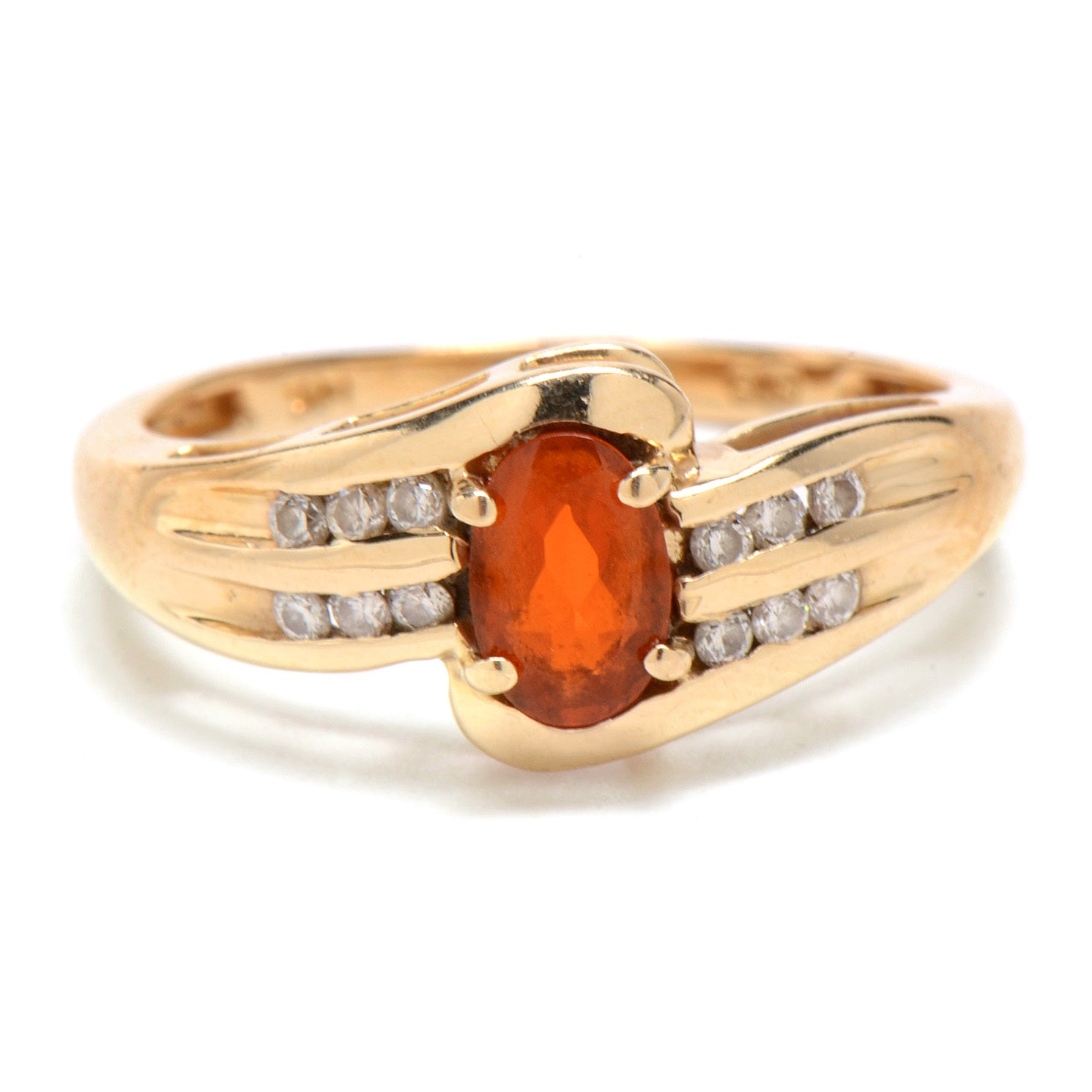 14K Yellow Gold Diamond and Fire Opal Ring