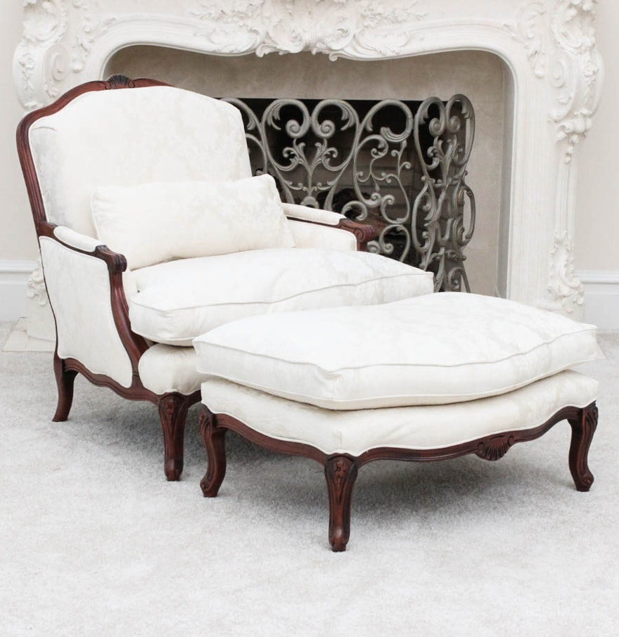 Norwalk Leather Sofa: Vintage Louis XV Style Chair With Ottoman By Norwalk : EBTH