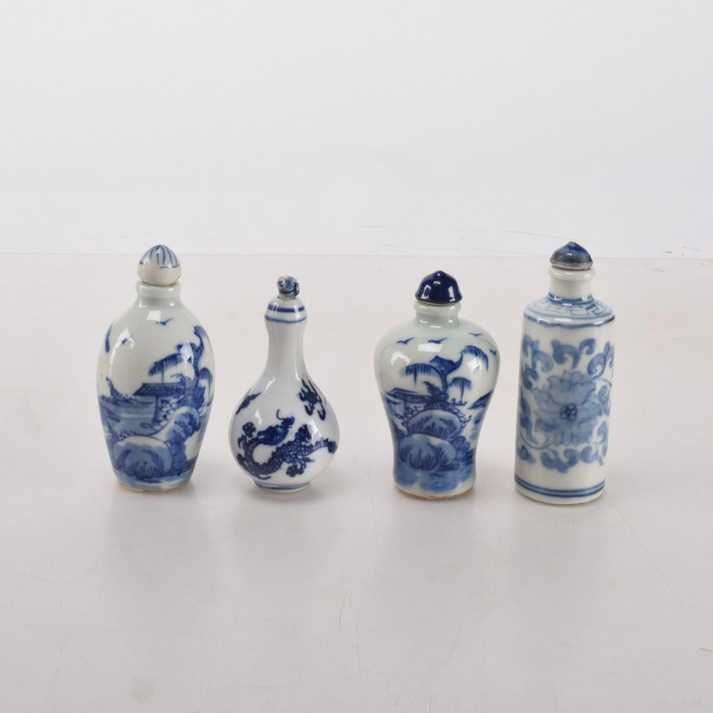 Chinese Blue and White Porcelain Snuff Bottles