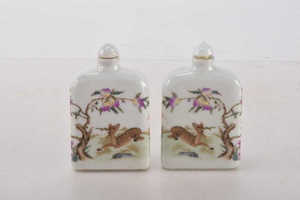 Hand Painted Chinese Porcelain Snuff Bottles