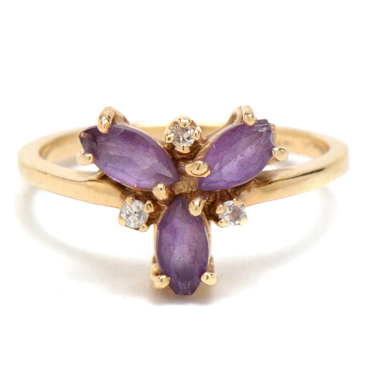 14K Plumb Yellow Gold, Amethyst and Diamond Ring