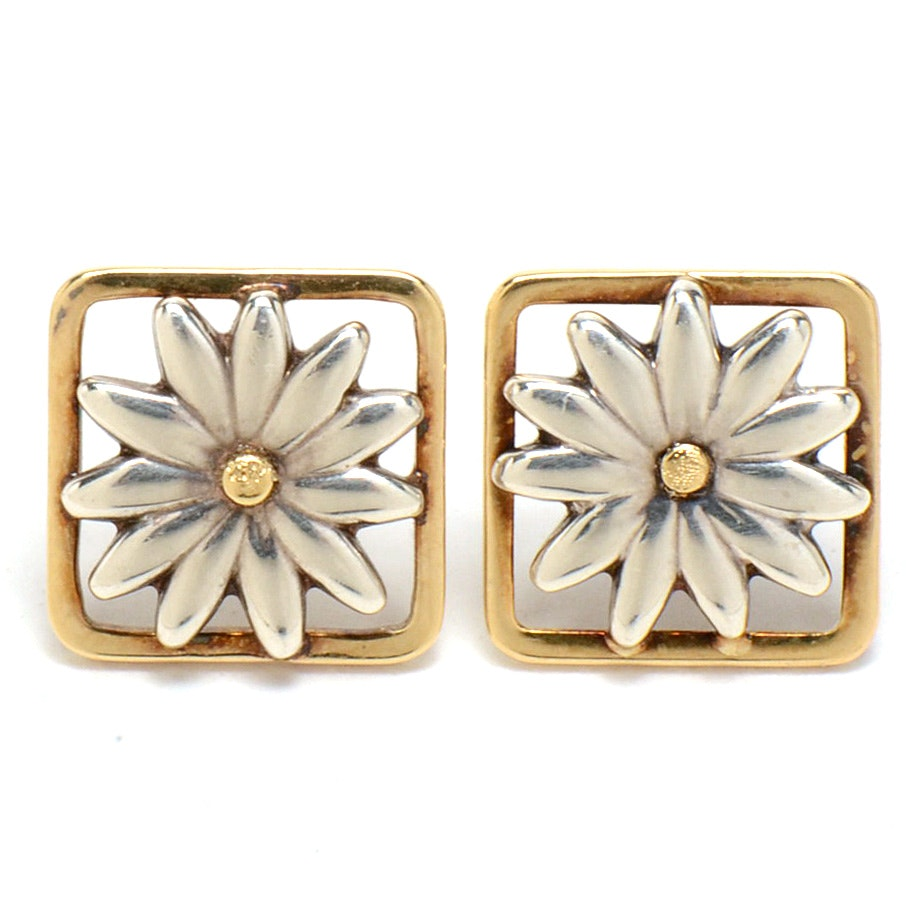 Tiffany & Co. Sterling and 18K Gold Pierced Daisy Earrings