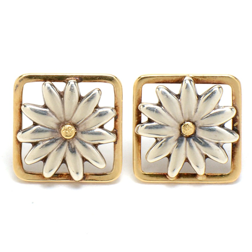 Tiffany Co Sterling And 18k Gold Pierced Daisy Earrings