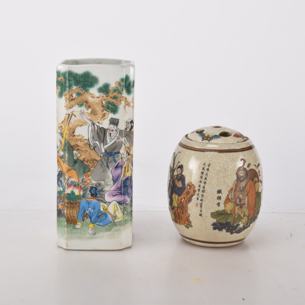 Pair of Hand Painted Chinese Vases