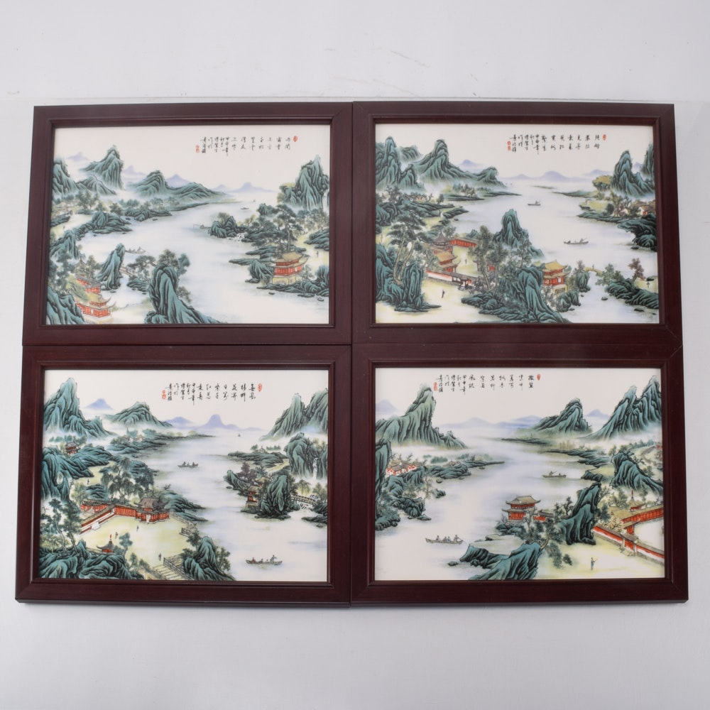 Chinese Landscape Paintings on Porcelain Tiles