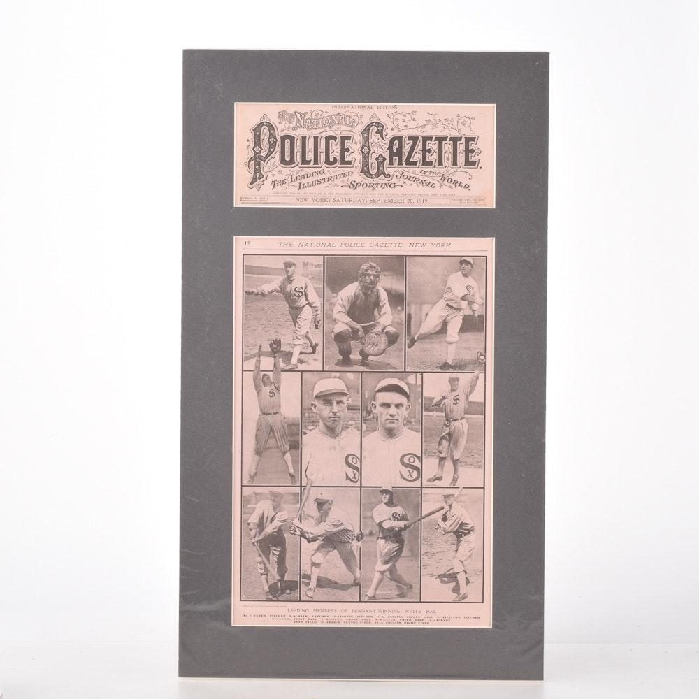 "Original 1919 ""National Police Gazette"" Cover Featuring the Chicago White Sox"