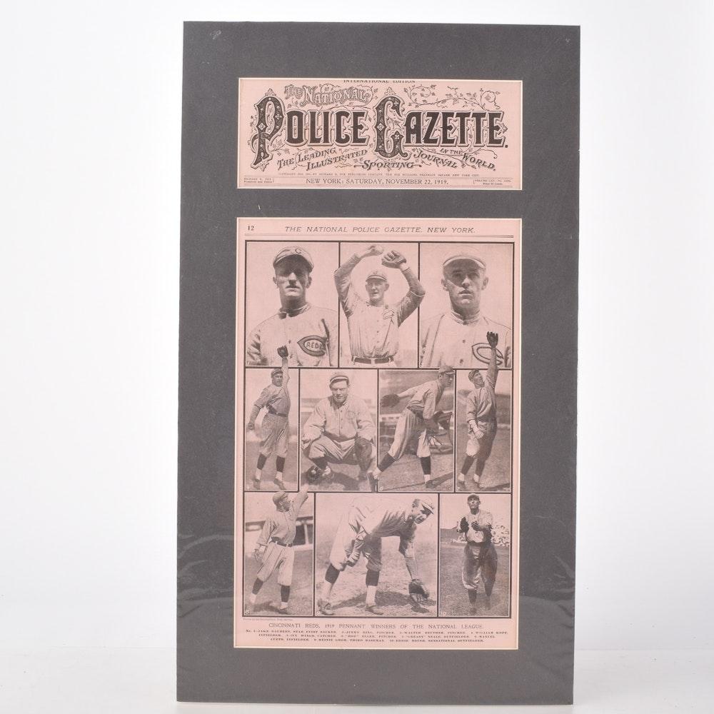"""Original 1919 """"National Police Gazette"""" Cover Featuring the Cincinnati Reds"""