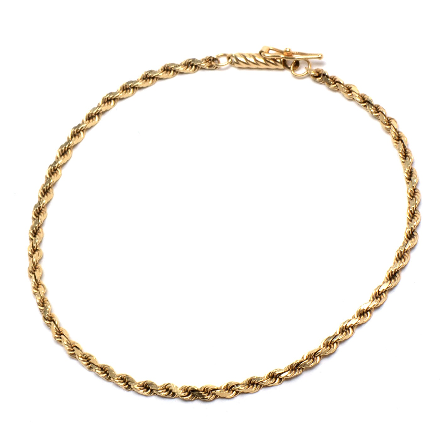 14K Yellow Gold Twisted Rope Chain Bracelet